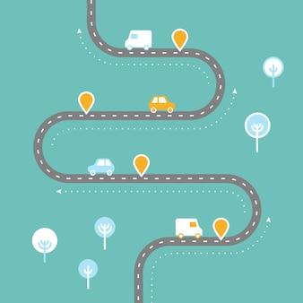 Route sinueuse avec pointeur de goupille modèle d'infographie