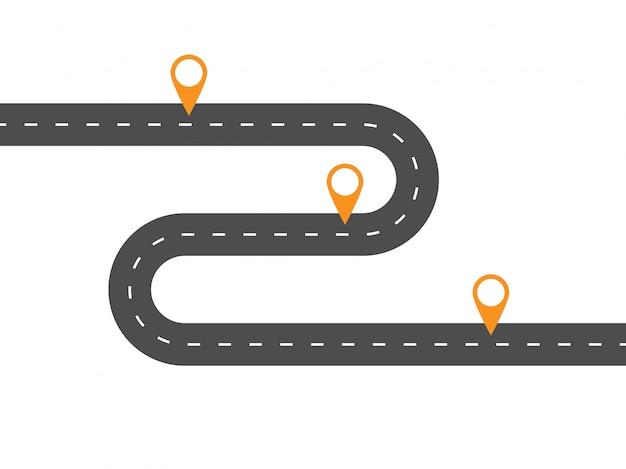 Route sinueuse simple avec des pointeurs. modèle pour certaines étapes ou actions.