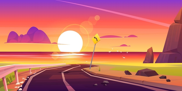 Route vers la mer plage coucher de soleil paysage asphalte