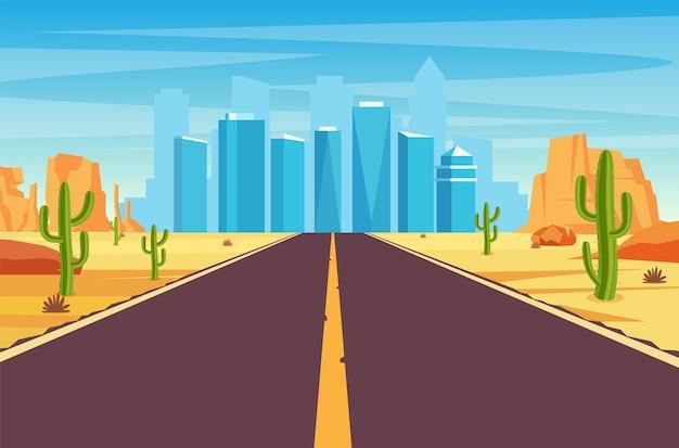 Route à vide dans le désert menant à une grande ville.