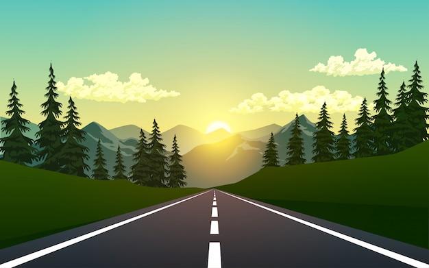 Route vide dans la forêt