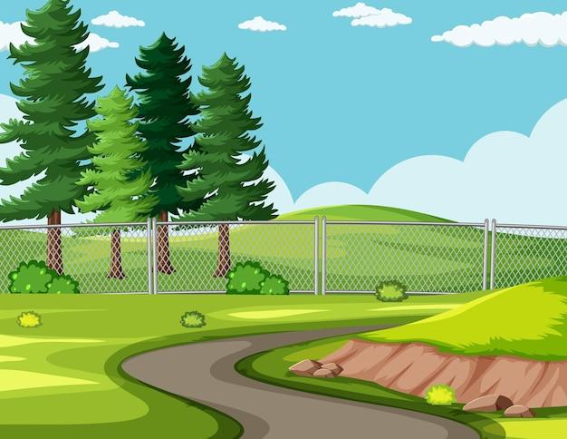 Route vide dans le paysage du parc