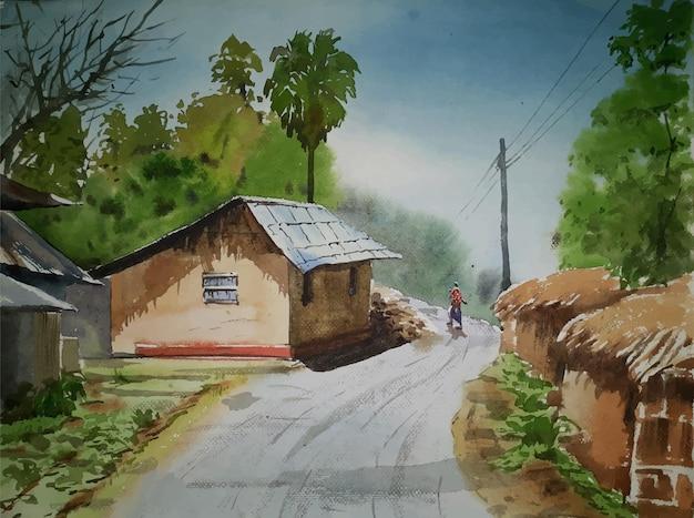 Route de village de peinture à l'aquarelle avec une belle maison