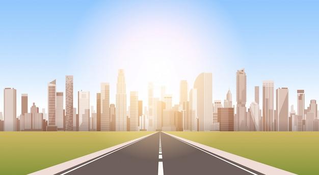 Route de la ville gratte-ciel vue paysage urbain fond silhouette skyline avec espace de copie