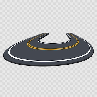 Route de virage courbe perspective