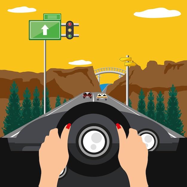 Route de voyage de conducteur de mains de femme