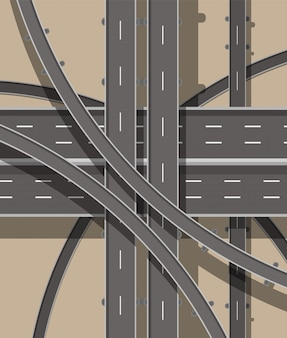Routes et transports modernes. vue de dessus.