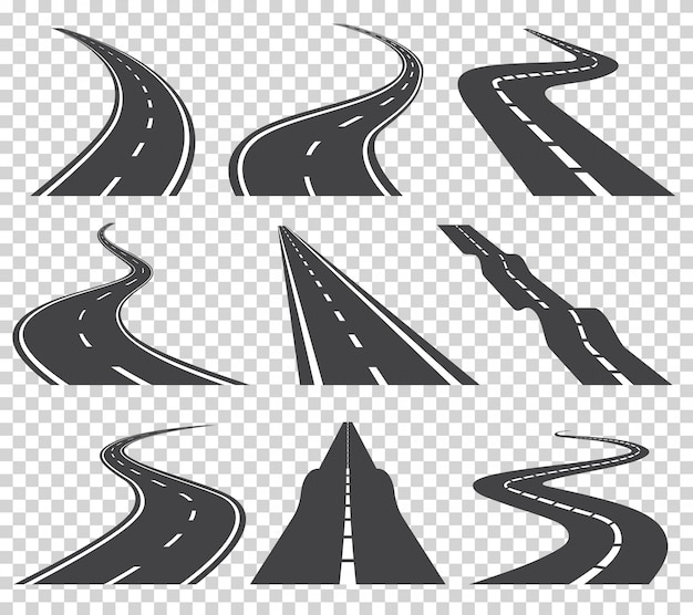 Routes vectorielles set de vecteur. route ou route goudronnée et route en courbe. route sinueuse sinueuse ou route avec marquage
