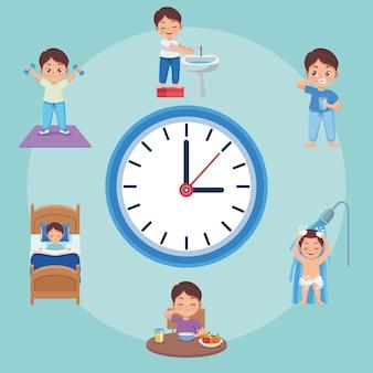 Routine au lit enfants et montre