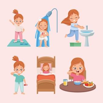 Routine de lit six enfants