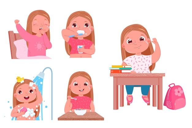 La routine quotidienne de l'enfant est une fille. retour à l'école.