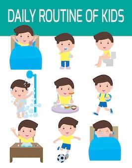 Routine quotidienne d'enfants heureux. élément infographique. santé et hygiène, routines quotidiennes pour les enfants, illustration.