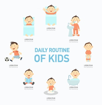 Routine quotidienne des enfants infographique, illustration.