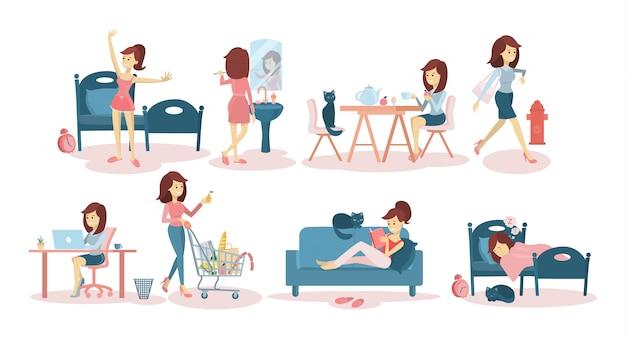 La routine quotidienne de la femme.