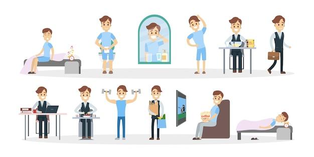 Routine quotidienne de l'homme. horaire quotidien avec illustration.