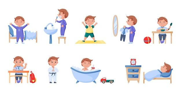 Routine de la vie quotidienne des écoliers, horaire quotidien et repos. garçon faisant l'hygiène du matin et l'activité physique, étudiant à l'école et illustration vectorielle de cours de sport supplémentaire isolé sur blanc