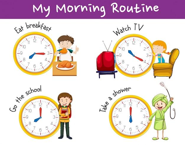 Routines du matin pour les enfants avec horloge et activités
