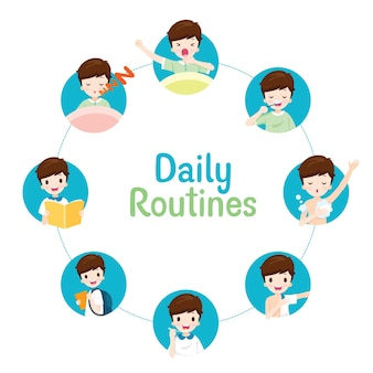 Les routines quotidiennes du garçon sur le diagramme circulaire, diverses activités, l'apprentissage, la détente