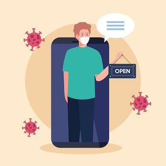 Rouvrir après la quarantaine, l'homme avec l'étiquette de réouverture de la boutique dans le smartphone