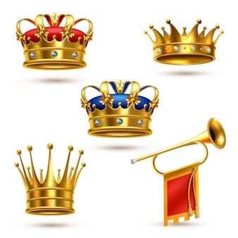 Royals Crowns Horn Collection Réaliste Vecteur gratuit