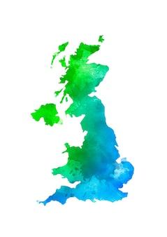 Royaume-uni isolé coloré à l'aquarelle