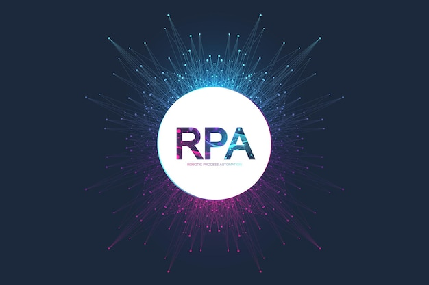 Rpa automatisation des processus robotisés. concept de modèle de bannière futuriste rpa. technologie innovante. intelligence artificielle. illustration vectorielle rpa