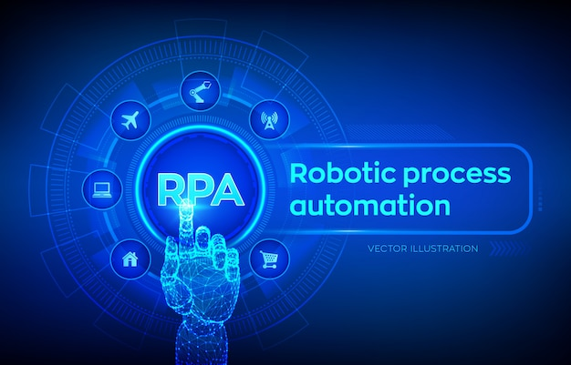 Rpa. concept de technologie d'innovation d'automatisation de processus robotique sur écran virtuel. main robotique touchant l'interface numérique.