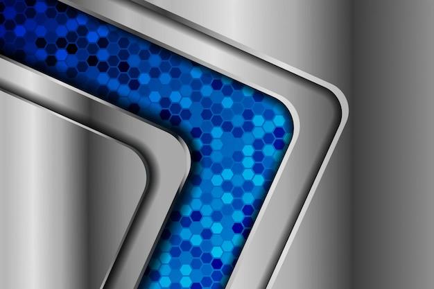 Ruban abstrait flèche dégradé métallique sur fond noir avec motif de maille hexagonale bleue fond de technologie futuriste de luxe moderne