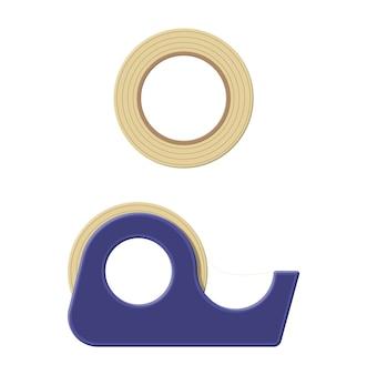 Ruban adhésif en distributeur plastique, scotch. outils pour l'éducation et le travail.