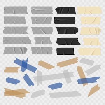 Ruban adhésif. grunge vieux et noir, rubans adhésifs transparents, ensemble de pièces de conduit collant