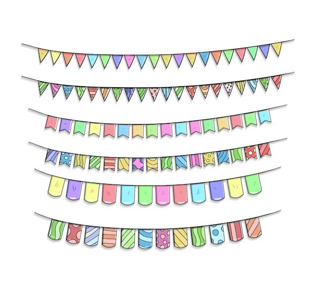 Ruban d'anniversaire définit la main dessin illustration colorée