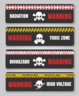 Ruban d'avertissement avec des crânes
