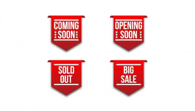 Ruban badge rouge à venir bientôt, ouverture bientôt, épuisé, grande vente.