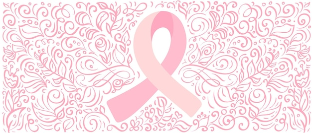 Le ruban de bannière vectorielle rose stylisé du cancer du sein pour octobre est le mois de la sensibilisation au cancer.
