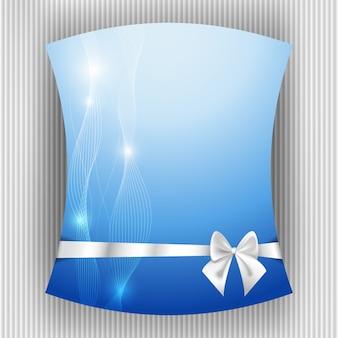 Ruban blanc et archet sur fond bleu