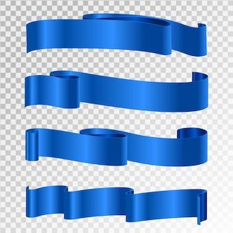 Ruban bleu isolé sur fond transparent