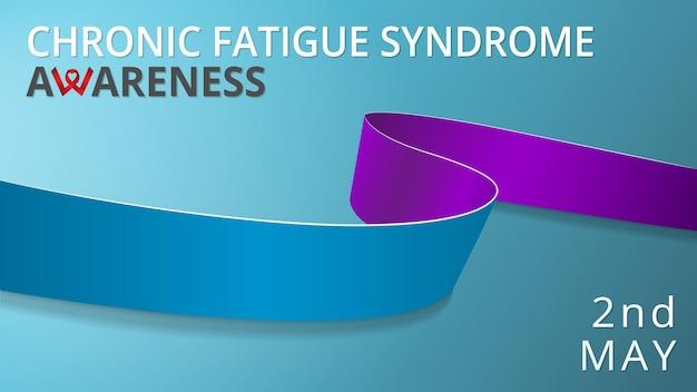 Ruban bleu et violet réaliste. affiche du mois de sensibilisation au syndrome de fatigue chronique. illustration vectorielle. concept de solidarité de la journée mondiale du csa. fond bleu.