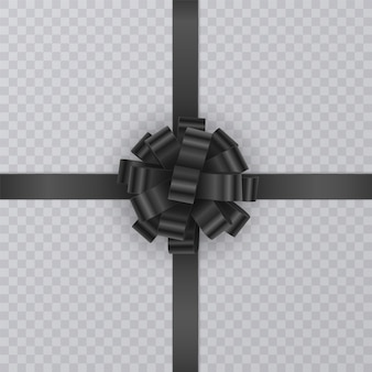 Ruban cadeau réaliste, noeud noir