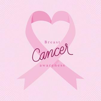 Ruban coeur rose du thème de la conception, de la campagne et de la prévention du cancer du sein