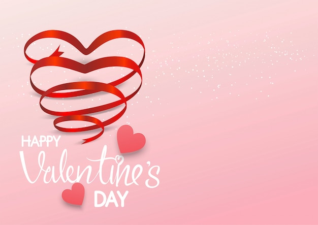 Ruban coeur rouge sur fond rose, joyeuse saint valentin