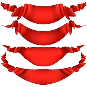 Ruban décoratif rouge réaliste, bannières, jeu de rayures isolé sur blanc.