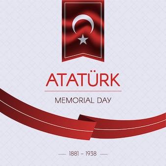Ruban de design plat de jour commémoratif ataturk