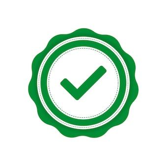 Ruban avec étiquette de vérification verte sur fond blanc. illustration vectorielle.