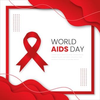 Ruban d'événement de la journée mondiale du sida dans un style papier