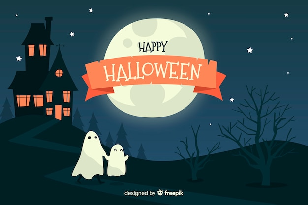 Ruban d'halloween heureux dans la nuit