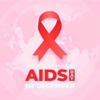 Ruban illustré de la journée mondiale du sida plat sur la carte du monde rose