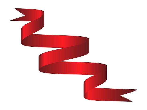 Ruban incurvé coloré rouge sur fond blanc. illustration vectorielle. eps10