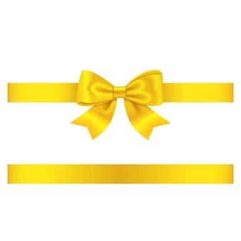 Ruban jaune et arc isolé sur blanc