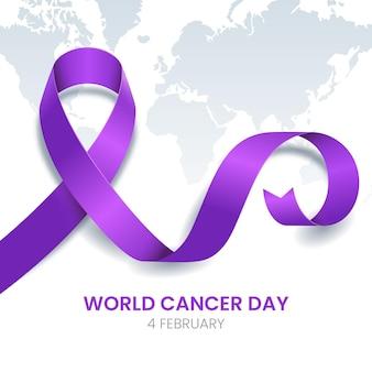 Ruban de jour du cancer dégradé sur la carte du monde