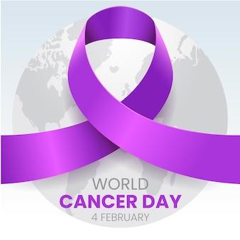 Ruban de jour du cancer dégradé sur globe terrestre